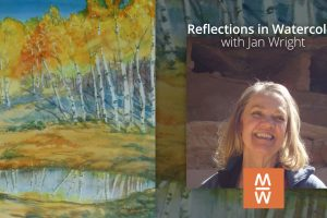 Cover image for a watercolor class with Jan Wright for Mancos School of the West
